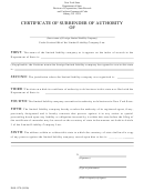 Certificate Of Surrender Of Authority Form - New York