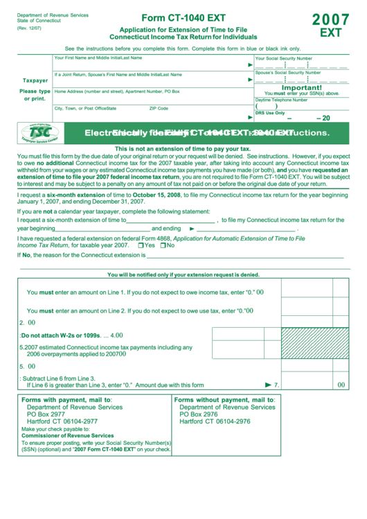 Form Ct 1040 Ext Application For Extension Of Time To File