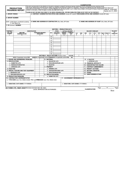 Fillable Dd Form 375 - Production Progress Report - 2000 Printable pdf