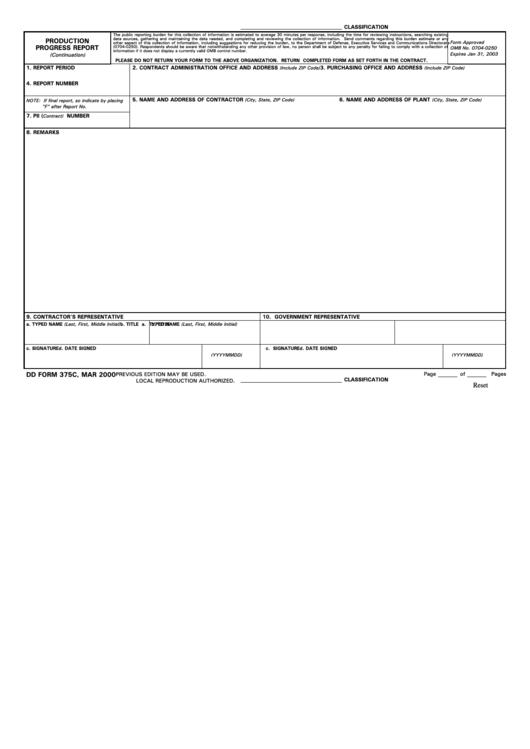 Fillable Dd Form 375c - Production Progress Report - 2000 Printable pdf