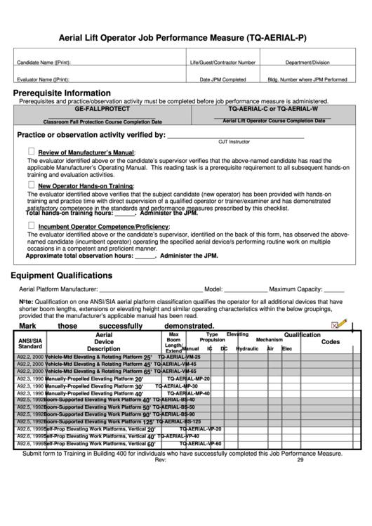 Aerial Lift Operator Job Performance Measure Form