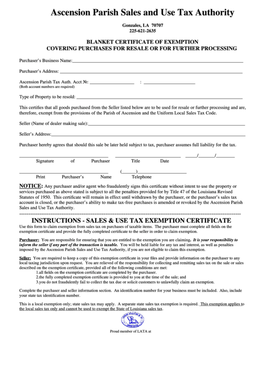 certificate blanket louisiana resale tax exemption form sales authority parish ascension printable pdf purchases covering processing further