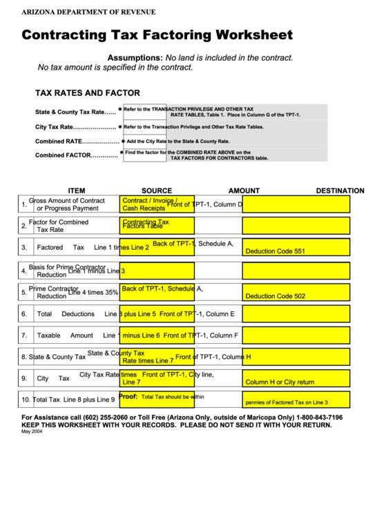 Contracting Tax Factoring Worksheet - Arizona Department ...
