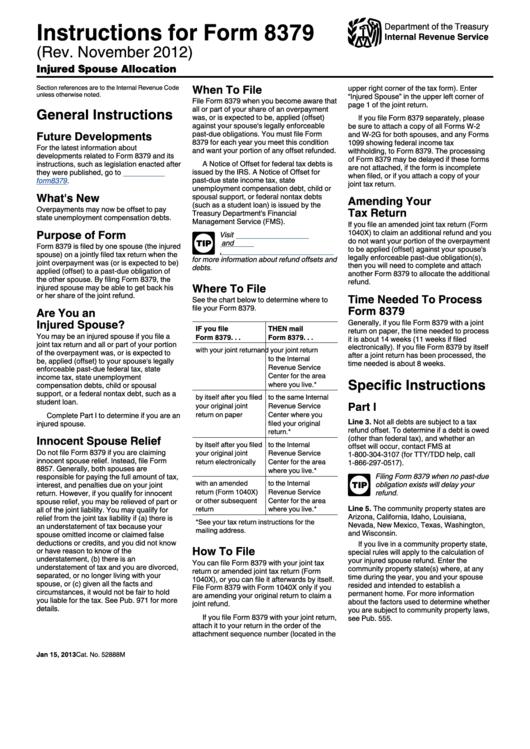 Instructions For Form 8379 (rev. November 2012) printable pdf download