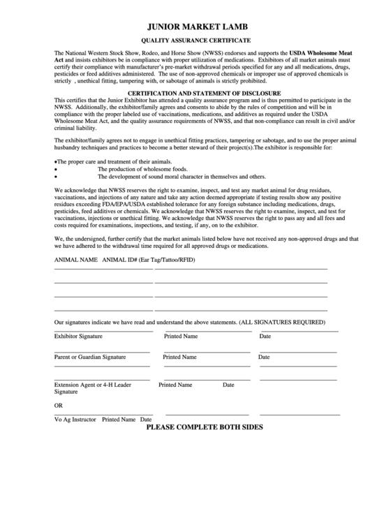 Market Lamb Quality Assurance - National Western Stock Show Printable pdf