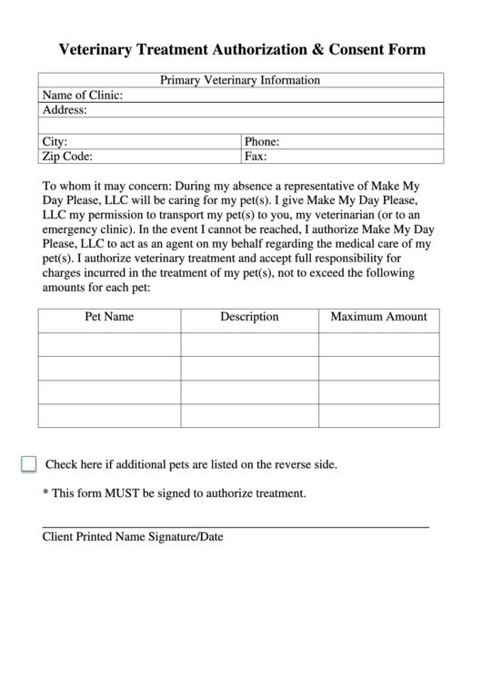 veterinary treatment authorization  u0026 consent form