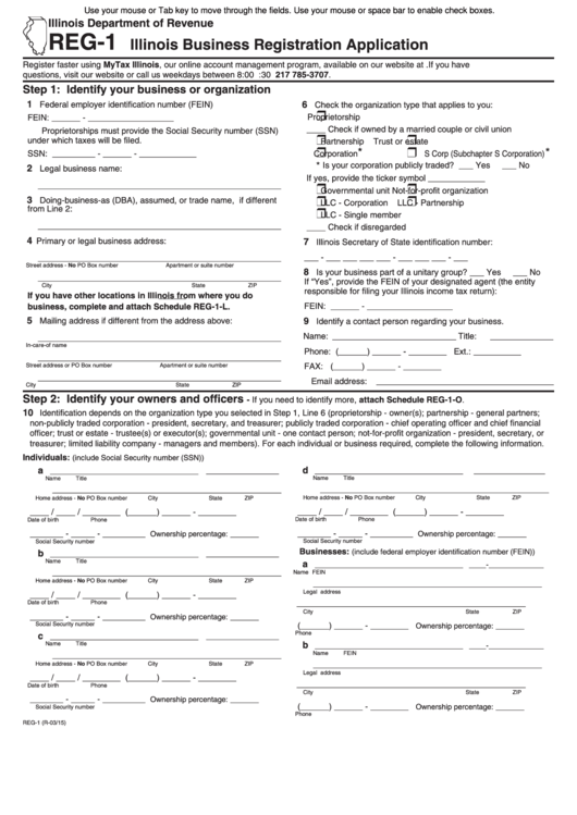 Form Reg-1 - Illinois Business Registration Application Form