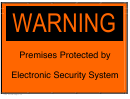 Electronic Security System - Warning Sign Template