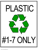 Recycle Plastic Types 1 Through 7 Sign Template