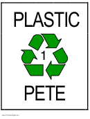 Recycle Plastic 1 Pete Sign Template
