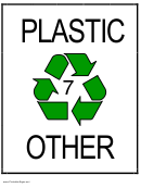 Recycle Plastic Type 7 Sign Template