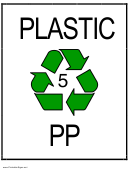 Recycle Plastic Type 5 Pp Sign Template