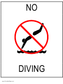 No Diving Sign Template