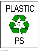 Recycle Plastic Type 6 Ps Sign Template