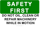 Safety Don't Clean Moving Machines Sign Template