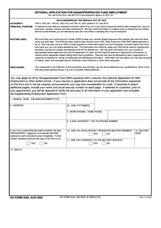 Fillable Da Form 3433 - Optional Application For Nonappropriated Fund Employement Printable pdf