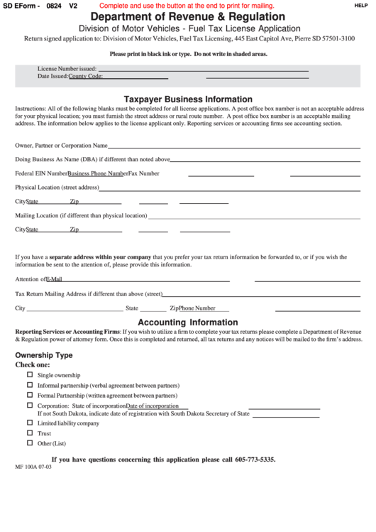 Fillable Form Mf 100a - Fuel Tax License Application Printable pdf