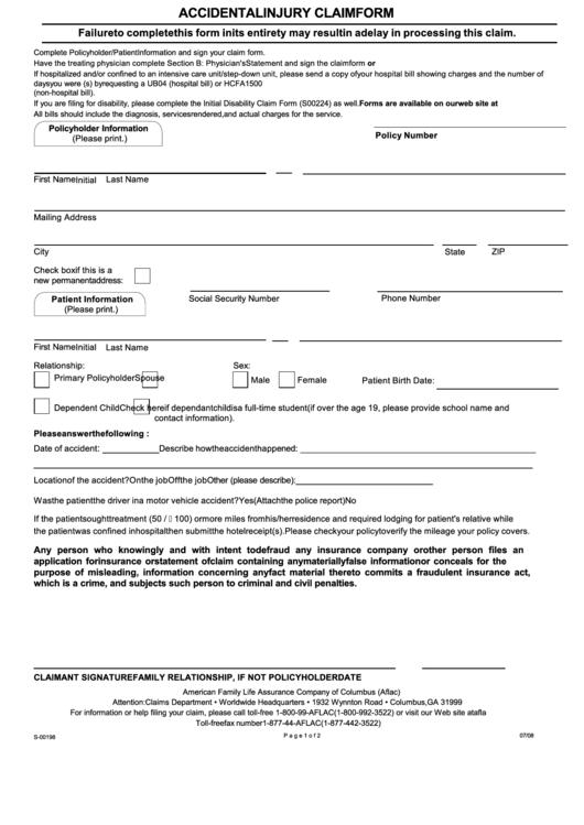 S-00198 - Accidental Injury Claim Form - Aflac printable pdf download