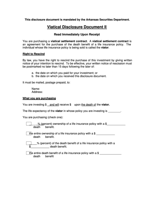 Viatical Disclosure Document Ii Form - Arkansas Securities ...