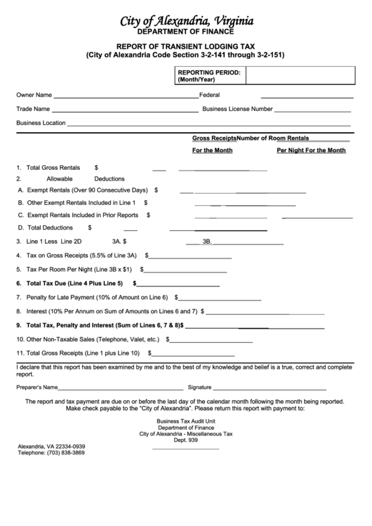 Report Of Transient Lodging Tax (city Of Alexandria, Virginia)