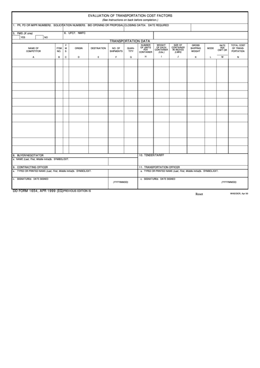 Fillable Dd Form 1654 - Evaluation Of Transportation Cost Factors Printable pdf