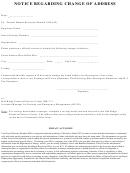 Notice Regarding Change Of Address Form