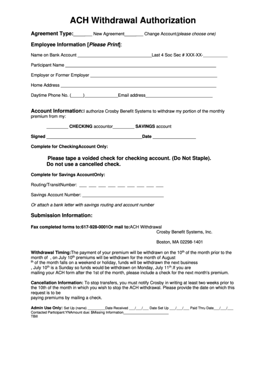 Withdrawal Authorization Form Printable Pdf Download