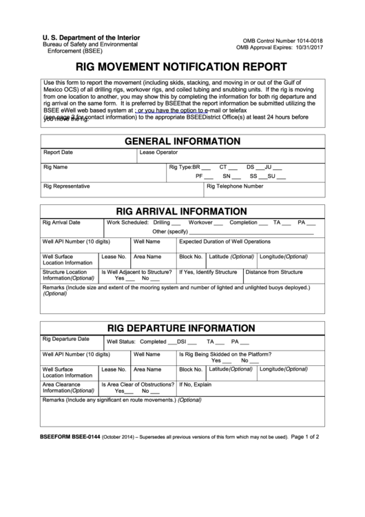 Bsee-0144 - Rig Movement Notification Report Template