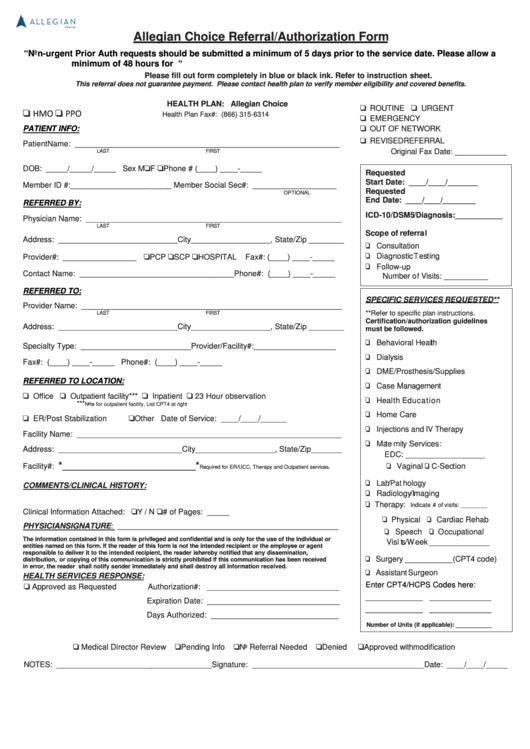 allegian choice referral authorization form printable pdf