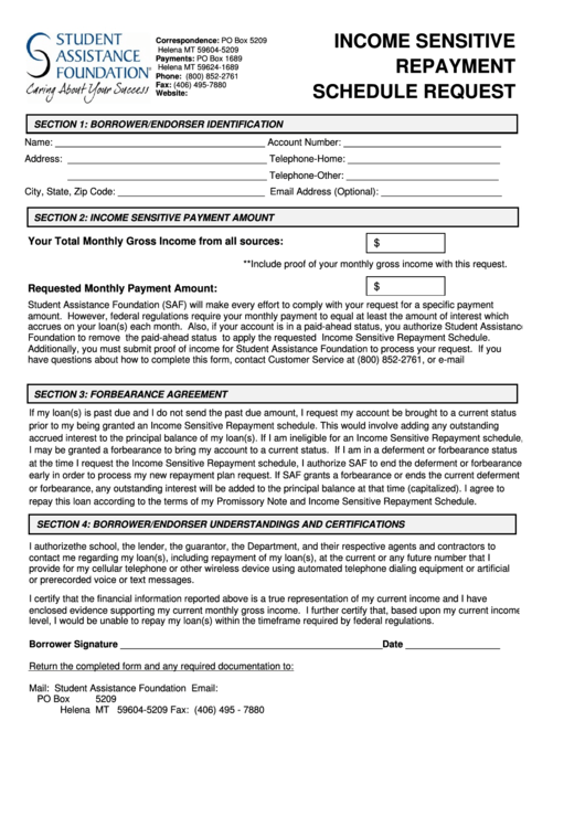 Income Sensitive Repayment Schedule Request Form