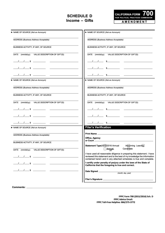 Fillable California Form 700 - Schedule D - Income - Gifts Printable pdf