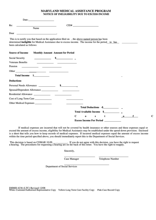 Dhmh-4236 Notice Of Ineligibility Due To Excess Income Form