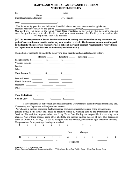 Fillable Form Dhmh-4233 - Maryland Medical Assistance Program - Notice Of Eligibility Printable pdf