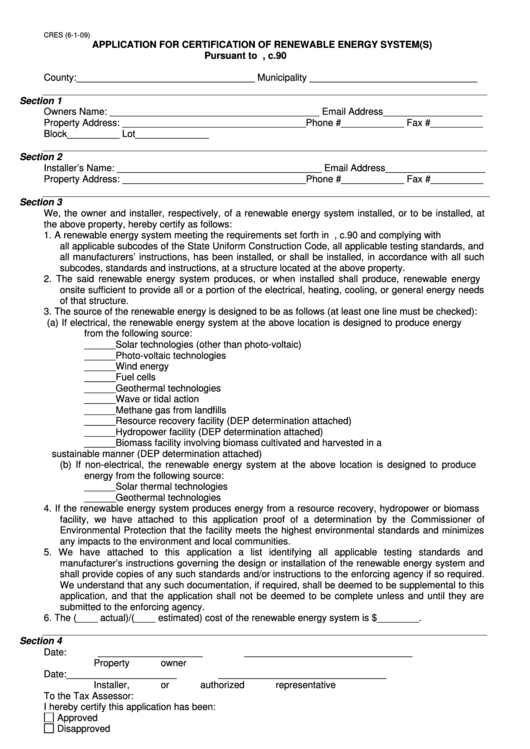 Fillable Cres Application For Certification Of Renewable Energy System(S) Form Printable pdf