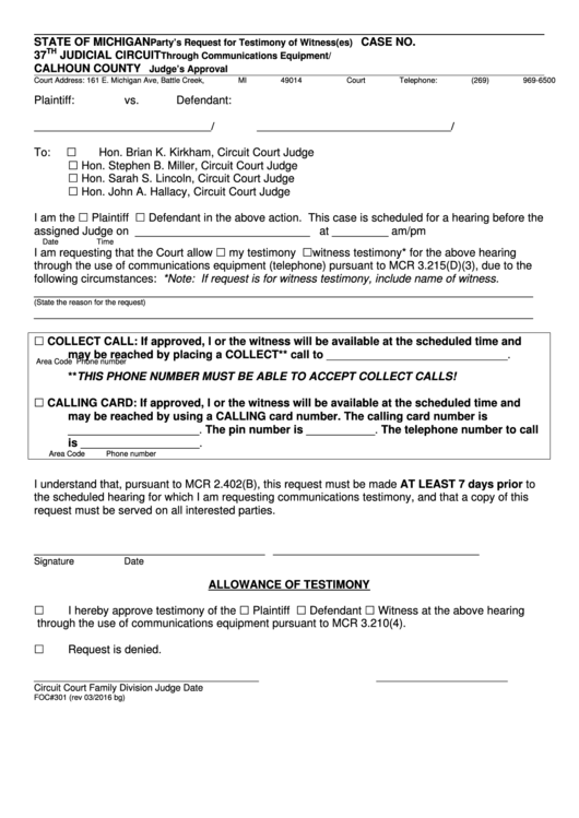 Fillable Foc 301 Request For Telephone Testimony Form - 37th