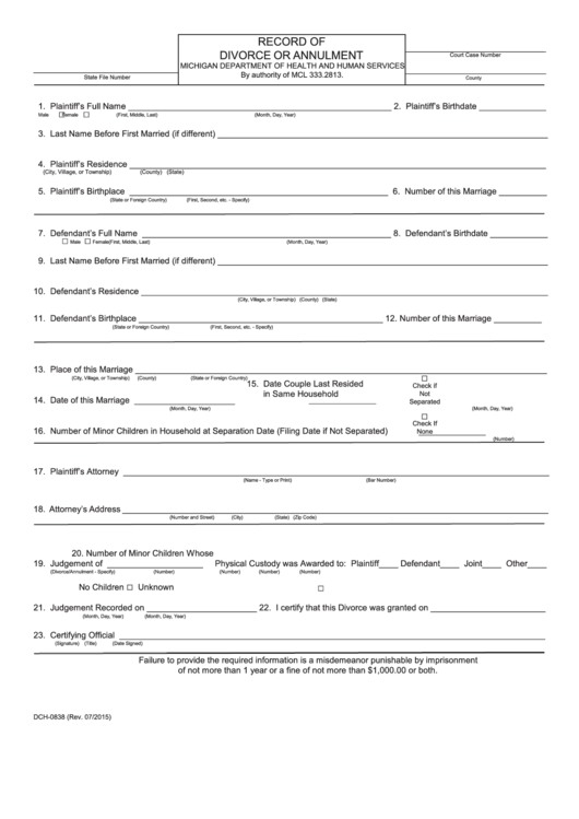 Form Dch-0838 - Record Of Divorce Or Annulment