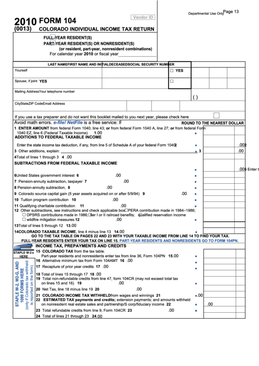 Revered image within printable colorado income tax form 104