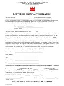Letter Of Agent Authorization Form - Office Of Tax & Revenue