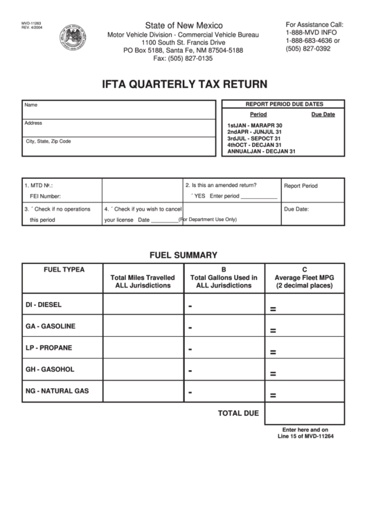 mvd 11263 4 04 ifta quarterly tax return form state of
