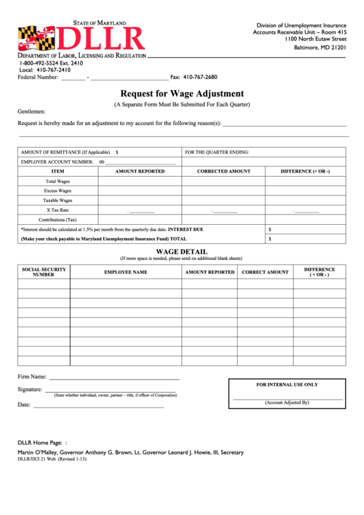 Form Dllr Dui 21 Web Request For Wage Adjustment