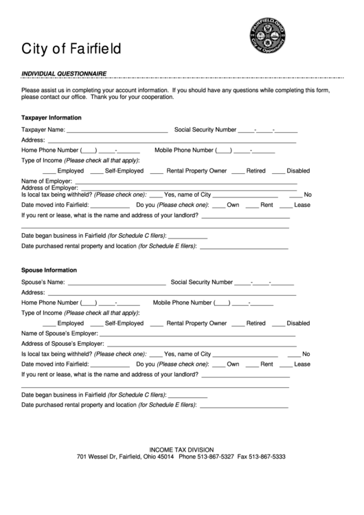 Individual Questionnaire Form - City Of Fairfield Income Tax