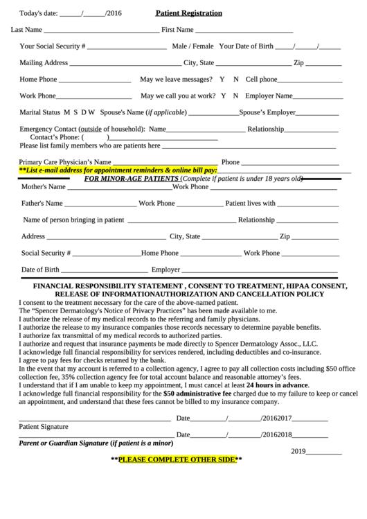Patient Registration Form (fillable)
