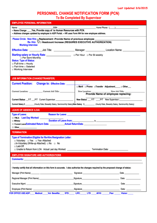 Personnel Change Notification Form  Pcn  Printable Pdf