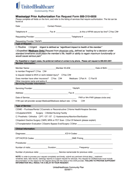 fillable mississippi prior authorization fax request form