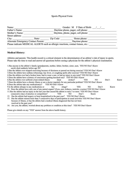 sport physical form printable pdf