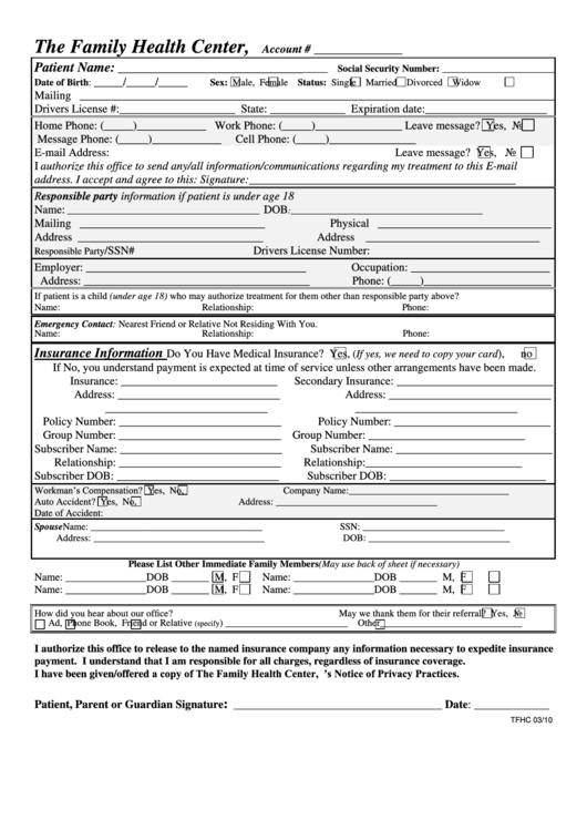 Health Insurance Application Form printable pdf download