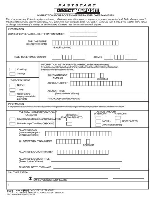Fillable Form 11-92 Federal Employee Payment - Faststart Printable pdf