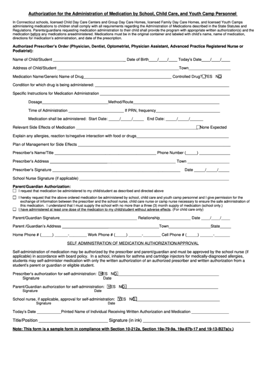 Ct Authorization To Administer Medication Form