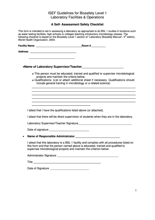 A Self- Assessment Safety Checklist Form