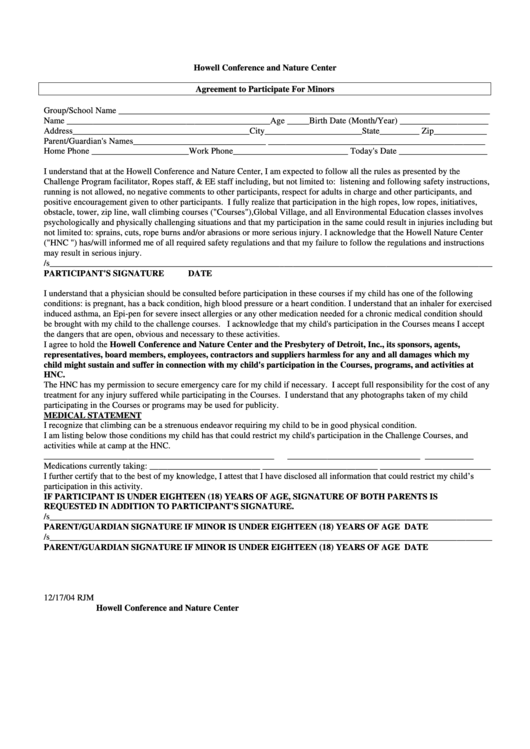 Agreement To Participate For Minors Form